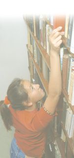 searching a bookshelf
