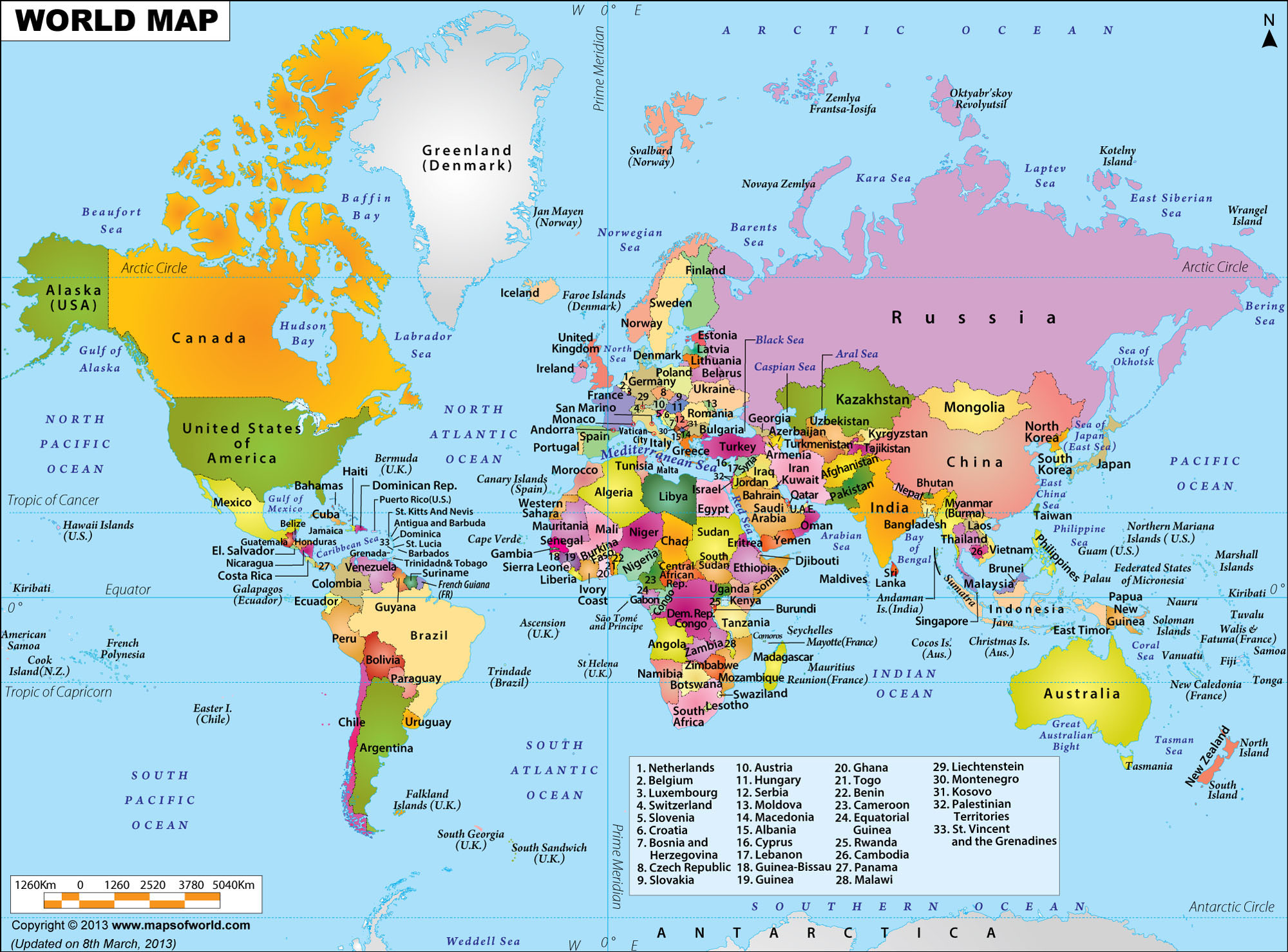 A political map of the world in 2014
