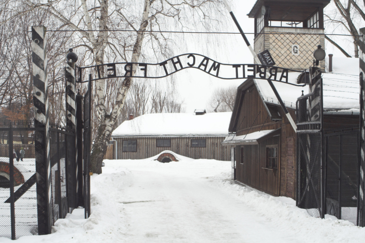 The Auschwitz camp gapeway in the snow