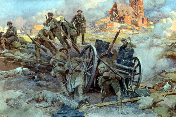 Soldiers pulling a large field gun through mud