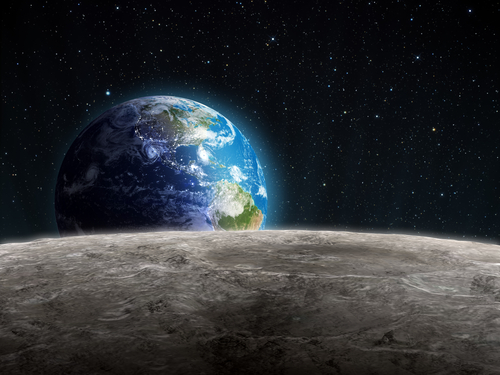 Planet Earth viewed from the Moon