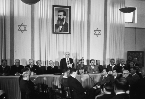 In 1948, Prime Minister David Ben-Gurion reads out the Declaration of Independence for the newly formed State of Israel.
