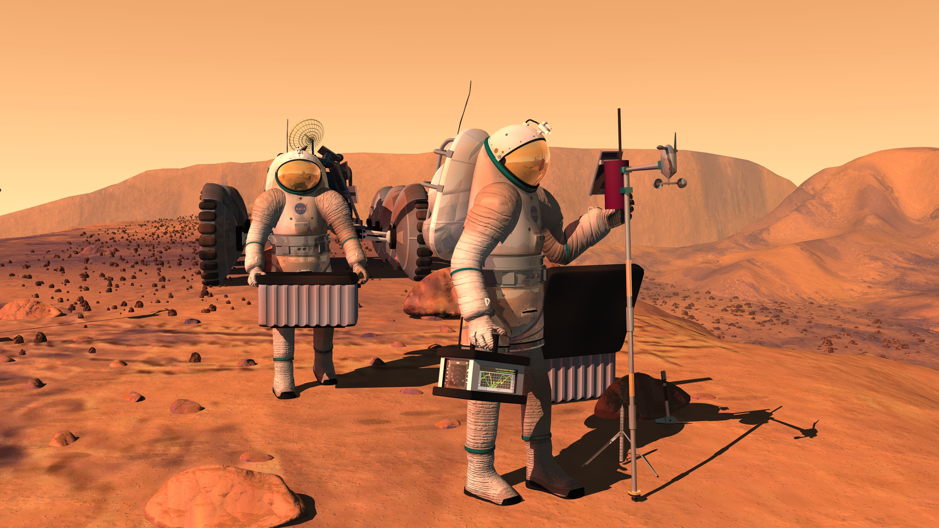 Artist's impression of men walking on Mars