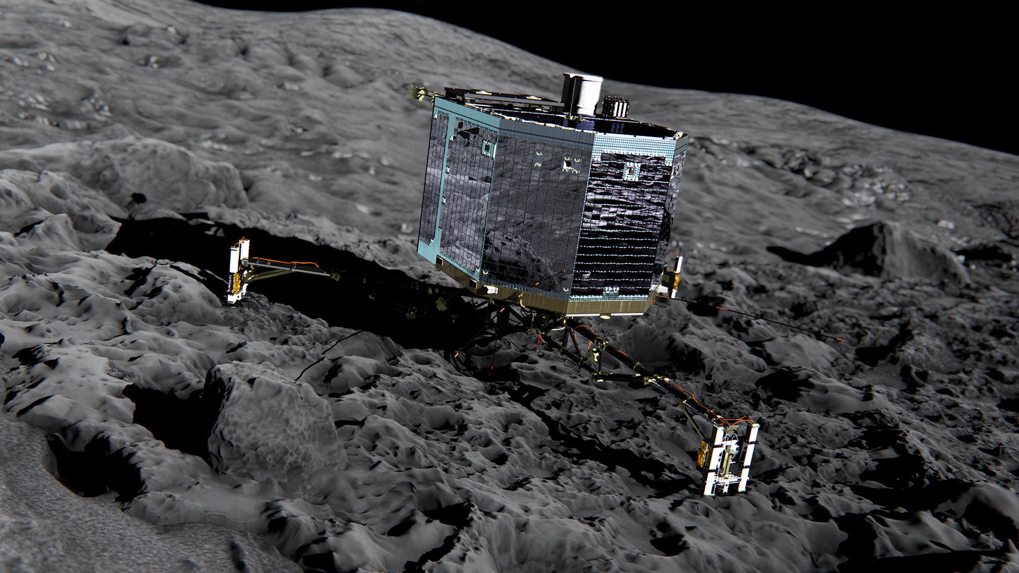 A simulated picture of the Philae spacecraft on Comet 67P