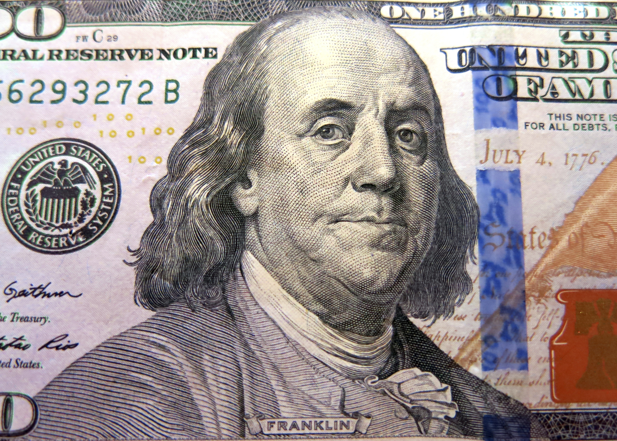 Benjamin Franklin on a US bank note