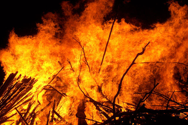 Fire raging in a pile of wood